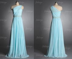 tiffany blue prom dress long prom dress one shoulder by fitdesign Cheap Bridesmaid Dresses, Grad Dresses, Prom Dresses Blue, Pretty Dresses, Homecoming Dresses, Beautiful Dresses, Evening Dresses, Ball Dresses, Elegant Dresses