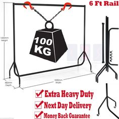 6ft SUPER HEAVY DUTY CLOTHES RAIL 6ft Long x 5ft High Metal Garment Hanging Rack NEW (6ft): Amazon.co.uk: Kitchen & Home