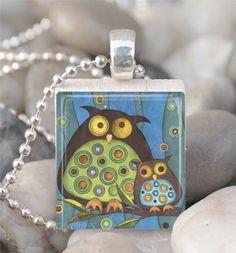 Scrabble Tile Pendant Owl Pendant Owl Necklace With Silver Ball Chain (A1320). $6.00, via Etsy.