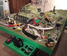 "Over on the ""Layout Building Forum"", I posted a reply to Andrew B. who is starting to build a replica of the layout from I have built a replica of the from and I thought I'd share some photos of my layout here. Lionel Trains Layout, Lionel Train Sets, Train Miniature, Train Platform, Hobby Trains, Train Table, Train Times, Model Train Layouts, Models"