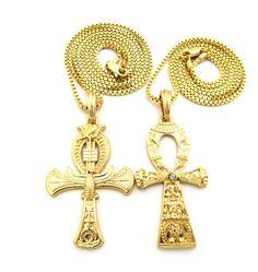 African Egyptian Ankh Eagle Cross Pendant Chain Set Gold - Bling Jewelz