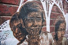 New York street artist Swoon visits London and installs some beautiful hand coloured pasteups in London. London Street, New York Street, Art Sites, Street Artists, Hand Coloring, Art World, Beautiful Hands, Graffiti, Group