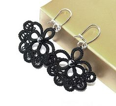 Tatted lace earrings in striking black. There are others in here in white ~ ! ~