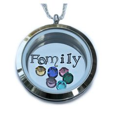 MEMORY LOCKET 30 mm Large locket  SCREW ON TOP  7/8 STAINLESS STEEL DISC HAND STAMPED  18 SILVER PLATED CURB CHAIN    TO ADD EXTRA BIRTHSTONES