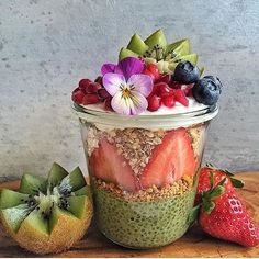 Isn't this gorgeous!! Matcha chia pudding with granola and fruits galore! #beautyblogger #cleaneating #veganrecipe #dessert #delicious #eatrealfood #fitnessmodel #superfoodlx #fruit #glutenfree #healthy #love #nicecream #nutrition #organic #paleo #protein #thatsdarling #darling #smoothiebowl #veganathlete #foodie #plantbased #rawvegan #smoothie #vegan #matcha #veganfoodshare #hbloggers
