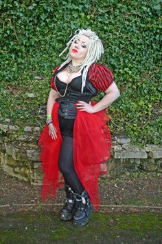 Bright red tulle tiered MEGA bustle gothic  by NightshadesClothing