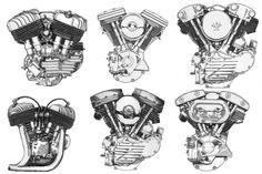 Harley-Davidson | Knucklehead Engines | From Top Left to Bottom Right:  Harley Flathead - Harley Evolution/Blockhead - Harley Knucklehead - Indian Flathead - Harley Panhead - Harley Shovelhead