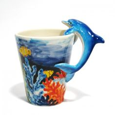 Dolphin Mug Ceramic Handmade Hand Painted Coffee Cup Art Decoration | madamepomm - Earth Friendly on ArtFire