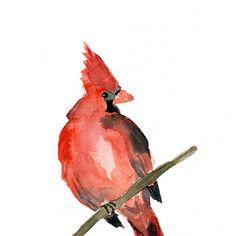 Cardinal Art Print of  original watercolor painting ,animal painting, birds,  Red, Holiday,  Christmas, wall decor,  Nursery decor . on Etsy, $21.00