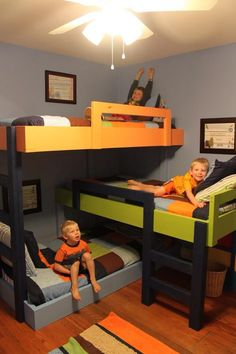 Triple Bunk Bed. I like this frame idea! Could do pink, purple and aqua for girls' room. Fun for sleepovers!
