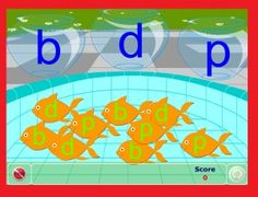 Here is a fun fish bowl sorting game aimed at helping students who struggle with p, b, and d confusion. Students sort the lettered fish i. Kindergarten Literacy Stations, Literacy Games, Alphabet Activities, Language Activities, Kindergarten Reading, Learning Phonics, Kids Learning, Teaching Child To Read, Teaching Reading