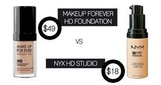Makeup forever HD foundation and the nyx HD studio foundation #PinoftheDay #makeupdupes