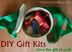 Do it yourself gifts can help keep gift-giving costs down {and be a LOT of fun}.  We love homemade Christmas gifts that help kids develop new skills as they interact with the world around them.  Make a craft kit to give as gifts are great to spark kids' imagination.