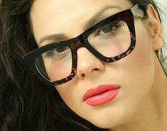 Retro Big Cat Eye Women Eyeglasses Thick Tortoise Frames Flat Top Glasses