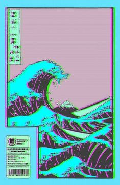 The Great Wave off Vaporwave Kanagawa Sticker- Redbubble - Iphone Wallpaper Trippy Wallpaper, Iphone Background Wallpaper, Retro Wallpaper, Aesthetic Pastel Wallpaper, Scenery Wallpaper, Aesthetic Wallpapers, Wallpaper Pictures, Animes Wallpapers, Cute Wallpapers