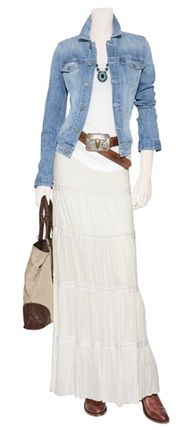 Skirt - white with jean jacket...LOVE