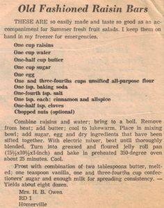 Old Fashioned Raisin Bars Recipe Clipping