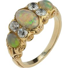 A Beautiful, Colourful, Harlequin Opal and DIamond VIctorian RIng from fable-and-windsor on Ruby Lane