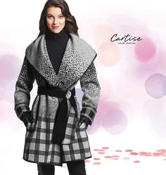 Plaid Coat with sash, and BLakc turtle neck. #fallfashion #musthave #Cartise #women #apparel #coloryourlife www.cartise.ca