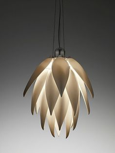 'Aloe Bud' porcelain pendant light, by Jeremy Cole (Hand crafted Bone China ceramic leaves geometrically arrange for even light distribution. Stainless steel frame & retractable lamp gear)
