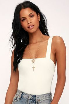 4162f7a4cb5b Pair the Lulus Symbolize White Sleeveless Bodysuit with some high-waisted  jeans or a distressed
