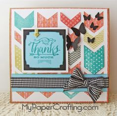 """** My Paper Crafting.com **: CTMH Close To My Heart Cards: 5.5"""" X 5.5"""" card using Charming Chevrons Stamp set A1150, and You Mean The World To Me Stamp set B1467."""