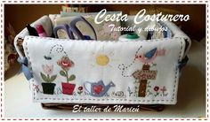 The workshop of Maricú: Wicker basket-sewing basket. Fabric Yarn, Fabric Crafts, Sewing Crafts, Sewing Projects, Patch Bordado, Couture Main, Basket Liners, Sewing Baskets, Cardboard Crafts