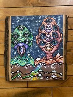 """⛰️MOUNTAIN RANGE ⛰️  • Original mixed media painting on organic wood slab  • Measures approx. 10.8""""x10.8""""  • Made with acrylic paints, paint pens, and ink  #art #artwork #artforsale #trippy #trippyartwork #trippyart #trippypainting #surreal #surrealism #psychedelic #psychedelicart #psychedelicpainting #psychedelicartwork #thirdeye #mindseyeartwork #etsy #painting #drawing #gouache #acrylic #acrylicpainting #ink #paintpens #markers #mixedmedia #wood #woodart #woodpainting #mountains #nature Hippie Drawing, Hippie Art, Wood Artwork, Wood Painting Art, Trippy Drawings, Art Drawings, Art Journal Inspiration, Art Inspo, Trippy Painting"""