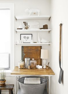 The owner used more than 30 open shelves and 14 mirrors to make it feel big and airy.