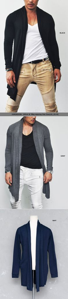 Outerwear :: Cardigans :: Avant-garde Slim Open Shawl Long-Cardigan 45 - Mens Fashion Clothing For An Attractive Guy Look