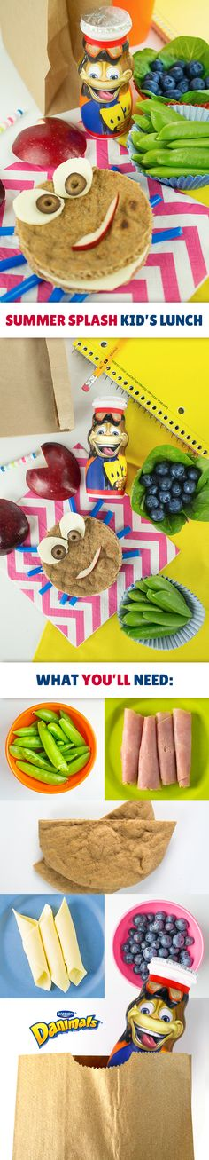 The kids can't possibly be crabby with this adorable lunch idea. Create a crab sandwich out of ham and cheese by cutting a whole wheat pita bread into a circle. Cut an apple to make the crab's claws and smile, and cut cheese and olives for the eyes. Use straws as the legs. Finally, round out this beach-inspired kid's lunch with fresh snap peas, blueberries and a limited edition Summer Splash Danimals® Smoothie.