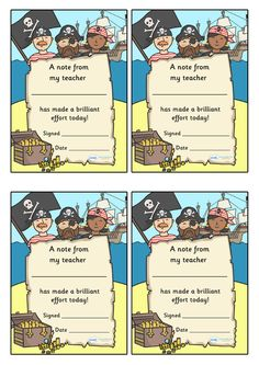 Twinkl Resources >> Note From Teacher Brilliant Effort Pirate Themed  >> Classroom printables for Pre-School, Kindergarten, Primary School and beyond! note from teacher, brilliant effort, notes, praise, note home, parents, good effort