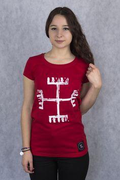 Niejasnego pochodzenia symbol, który przypisywany jest Świętowitowi - bogu o czterech twarzach, głównej postaci w panteonie Słowian połabskich. Sprawuje on opiekę nad Ziemią, każdemu swojemu wyznawcy przynosząc pomyślność i dobrobyt.  Damski T-shirt Ręce boga wykonany został  z bawełny z domieszką elastanu.