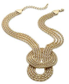 Sequin Necklace, 14k Gold-Plated Mesh Knot Four-Row Necklace