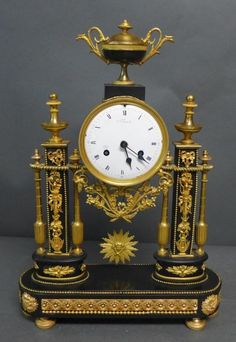 French Empire Gilt Bronze & Marble Portico Clock