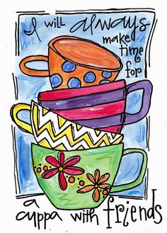 Items similar to Illustration Print Friends and Cups on Etsy Coffee Love, Coffee Art, Tea Art, Coffee Signs, Bible Art, Art Journal Inspiration, Art Journal Pages, Doodle Art, Bunt