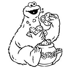 Cookie monster cookie jar coloring pages coloring for Coloring pages elmo cookie monster