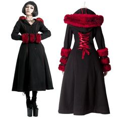 Designer Black and Red Wool Goth Fashion Winter Trench Coats Women SKU-11401213