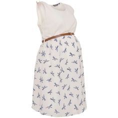 Maternity White and Blue Bird Print 2in1 Dress via Polyvore