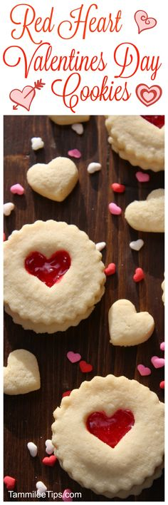 Super easy red heart Valentines Day Cookie Recipe! These DIY cute easy non decorated cookies are perfect for anyone! They taste amazing and they are super easy to make!  via @tammileetips