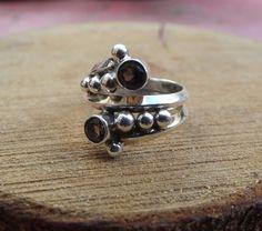 925 sterling silver ring, smoky quartz silver ring, stone ring for women, natural smoky quatz ring