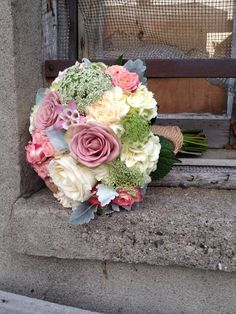 Wedding bridal bouquet, pinks, ivory, and green. #wedding