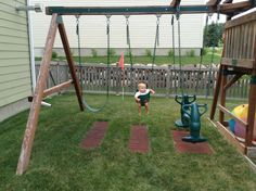 rubber pavers for an inexpensive, attractive, and kid friendly solution to the missing grass in the high traffic areas of your yard. Backyard Playset, Backyard Swings, Backyard Trampoline, Backyard Playground, Backyard For Kids, Backyard Ideas, Patio Ideas, Playground Flooring, Garden Yard Ideas