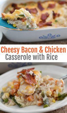 Cheesy Chicken, Bacon, and Rice Casserole