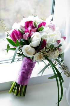 Bridal Bouquet - Hot pink roses, white roses, pink calla lilies, white hydrangea, white cymbidium orchids, seeded eucalyptus