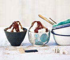 Marshmallow Creme-Hot Fudge Sundaes Recipe at Epicurious.com