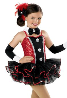 Tuxedo Style Girl's Tutu Dress Red sequined Sparkling silver sequin buttons Fluffy black tricot two-tier skirt Cute Dance Costumes, Jazz Costumes, Girl Costumes, Skating Dresses, Dance Dresses, Girl Tuxedo, Ringmaster Costume, Cheerleader Costume, Fantasias Halloween