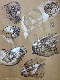 William B Hand - Drawings done with Prismacolor Marker, Ultra Fine Point SHARPIE, White Gel Pen, ProWhite (Opaque Watercolor), and Ballpoint Pen on White or Brown Paper.
