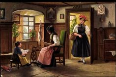Künstler Ak Schwarzwald, Bauernstube, Volkstrachten, Spinnrad, Black Forest scene, 1918