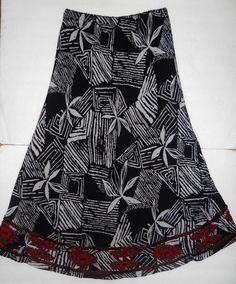Chicos Womens Size 0 XS 4 6 Black Maxi Long Skirt Lined Artsy Tropical Beaded  #Chicos #PeasantBoho
